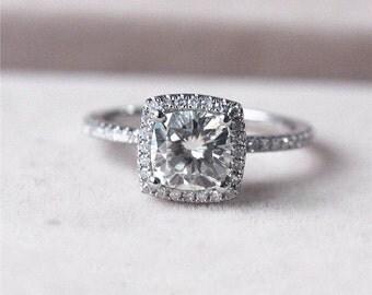 Cushion Moissanite Ring, Moissanite Engagement Ring, Engagement Ring, White Gold Ring, Halo Engagement Ring, Diamond, Halo Diamond