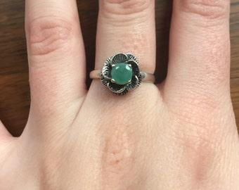 Genuine Emerald Ring, Antique Ring, Vintage Ring, Antique Emerald Ring, Antique Rings, Sterling Silver Ring, Green Vintage Ring