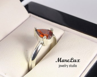 Garnet Pear Cut Silver Ring, Simulate Garnet Dark Red CZ, Solitare Ring, Engagement Ring, Pear Cut Ring, Solid Sterling Ring Cubic Zirconia