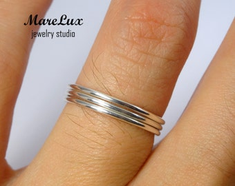 Set of 3 Classic Thin Stacking Silver Rings, Super Thin Round Rings, Tiny Stackable Rings, Little Round Stackers, Minimal Silver Rings