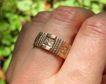 Antique Rose Gold Ring - Victorian Wedding Band - Bridal Jewelry
