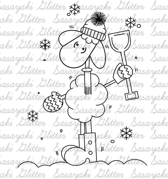 Winter Sheep Digital Stamp By Sasayaki Glitter