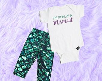 Baby Girl Mermaid Outfit, Mermaid Baby Outfit, Mermaid Baby Shirt, Baby Girl Outfit for Pictures, Baby Girl Mermaid Leggings
