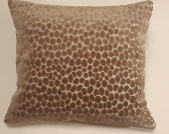 """Taupe Animal Print  Decorative Pillow  - 16"""" X 16"""""""