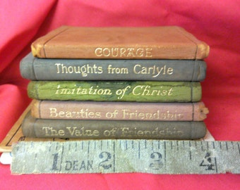 Collection of 7 miniature books. Leather bound gilt edge. Early 1900s