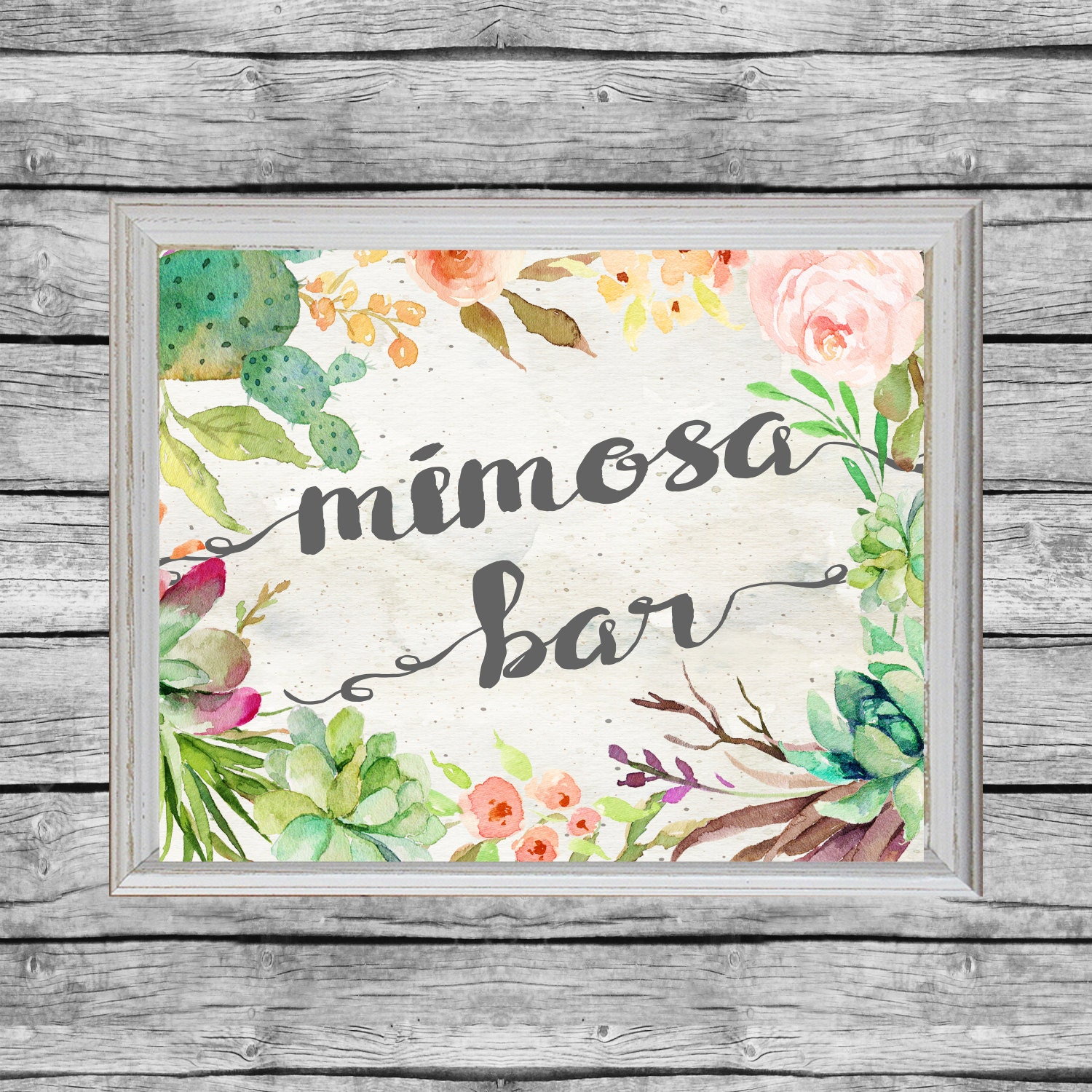 This is a picture of Soft Mimosa Bar Sign Printable