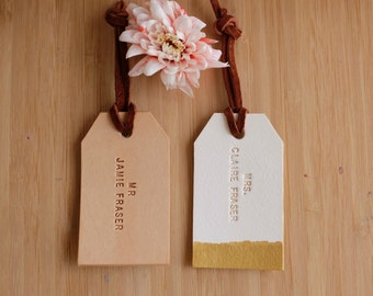 Mr and Mrs Luggage Tag, Custom Couple Travel Tag, Personalized Leather Luggage Tags - Wedding Gift for Couple, Newly Wed Honeymoon Gift