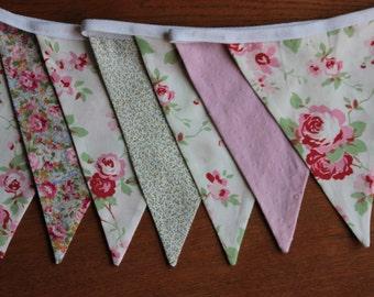 Rose Bunting, Fabric Bunting Banner