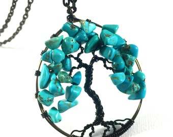 Turquoise Tree of Life Necklace, Turquoise Tree of Life Pendant, Wire Wrapped Tree of Life Necklace, Tree of Life Necklace