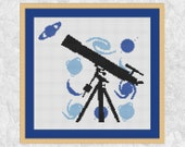 Telescope cross stitch pattern, astronomy counted cross stitch chart, galaxy, planet, sun, stars, space silhouette, PDF, instant download