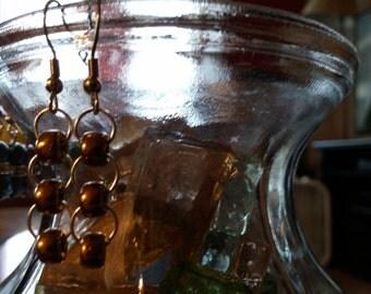 Dangle earrings, rustic gold