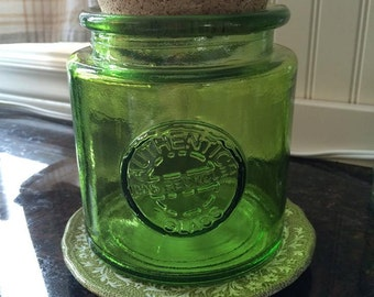 Lime Green Glass Jar with Cork Lid, Kitchen Storage, Bathroom Storage, Laundry Storage, Authentic 100 Recycled Glass, Wide Mouth, large Jar