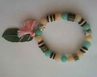 Bead Bracelet with Leaf and Tassel