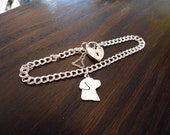 Labrador Charm bracelet with heart clasp and safety chain sterling silver