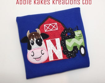 Farm One Birthday Applique Design with Cow, Barn and Tractor / First Birthday / 5x7 Size Only