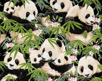 Panda Fabric-Fabric With Panda's Bamboo and Flowers