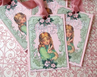 Easter Tags-Vintage Image of Girl and Bunny-Set of 6