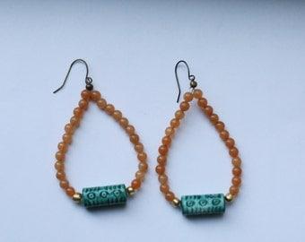 Peach & Green Earrings
