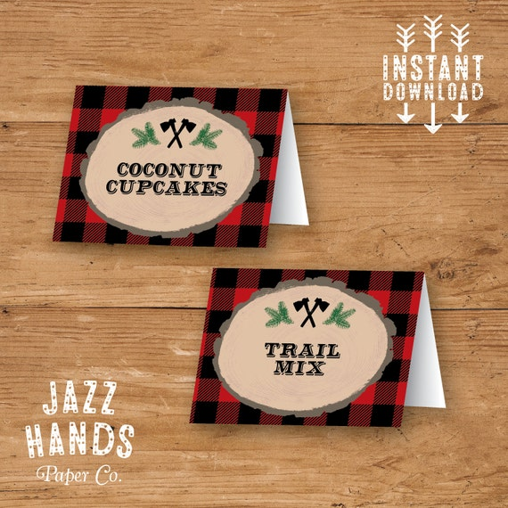 Lumberjack Birthday Food Labels Template DIY Printable