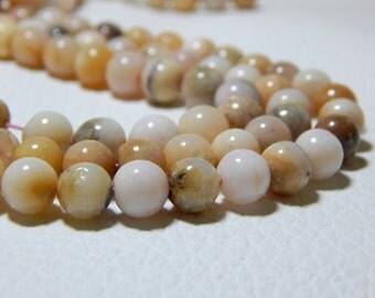 Pink Peruvian Opal Round Beads 100% Natural Gemstone - Size 7.4x7.3 mm Approx Code - 0297