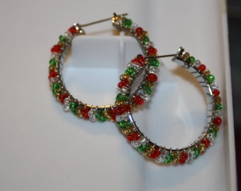 Beaded Wire Wrapped Hoop Earrings