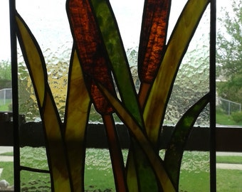SOLD - Stained Glass Cattails Panel
