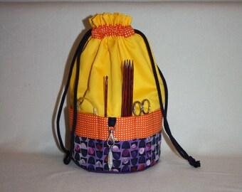 Knitting project bag, Handarbeitskorb, pouch, wristlet