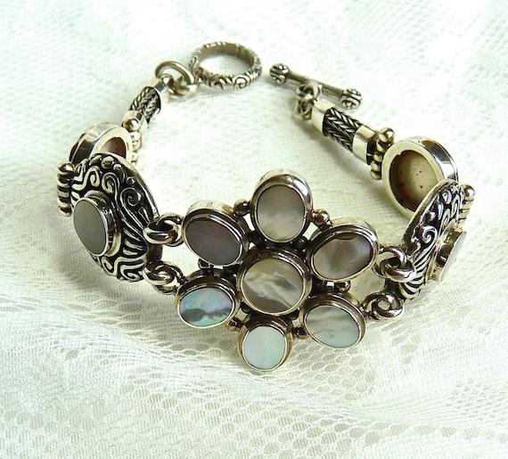 Mother Of Pearl Sterling Silver Bracelet ~ Bezel Set Cabochon MOP ~ 925 Silver Link ~ Floral Design ~ Beautiful ~ Unique ~ Vintage