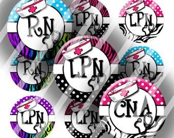 Digital Bottle Cap Collage Sheet - RN-LPN-CNA - 1 Inch Circles Digital Images for Bottlecaps