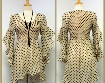 Boho, Peasant,Country Polka dot hi low Blouse. S M L