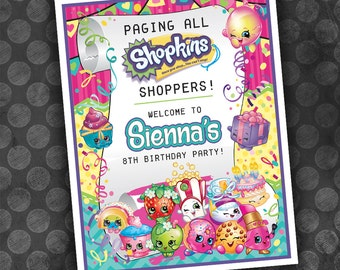 SHOPKINS Inspired Birthday Party Welcome Sign / Digital File