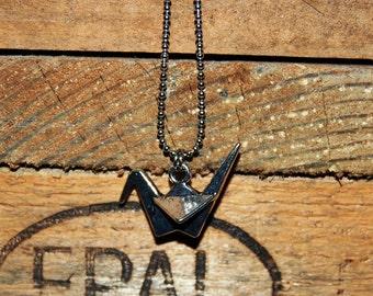 HANDMADE 3d origami bird necklace SILVER