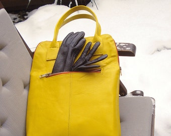 Yellow Genuine Leather Bag, ideal option for women to carry a laptop
