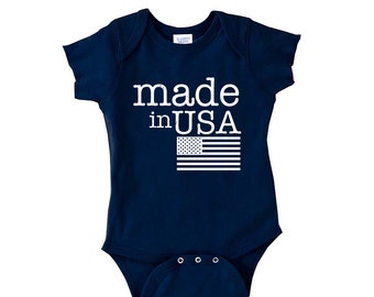 Made In USA Onesie -Trendy baby clothes -4th of July Baby - 4th of July Onesie - Flag Shirt- Merica Flag Kids Tee- baby shirt -toddler shirt