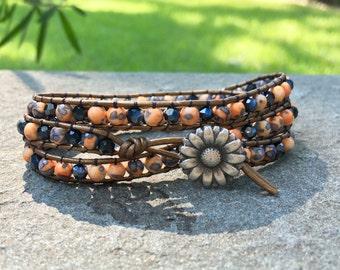 4mm Orange and Blue Handmade Boho Beaded Leather Wrap Bracelet