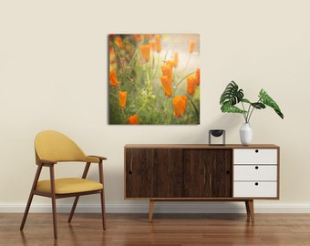 Orange Wall Canvas, Orange flower Art, Orange Flowers, Orange Photograph, Square Canvas, Floral Photography, 12x12, 16x16, 20x20,