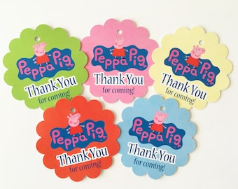 12 Peppa Pig Thank you Birthday party favor tags