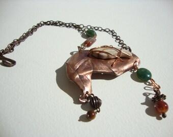 ethnic necklace, copper, semi-precious beads