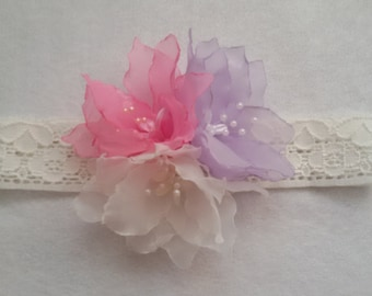 Headband Chiffon flower Accessories headband flower headband handmade headband Baby Girl Headband shabby chic headband  chiffon flower