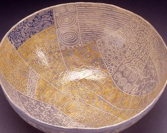 Dreamline Gavotte - OOAK handmade stoneware ceramic bowl, pottery bowl, large bowl, sgraffito, gift, graphic, for her, for him, home decor
