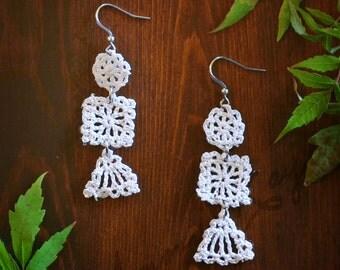 Patchwork Crocheted Dangle Earrings in White
