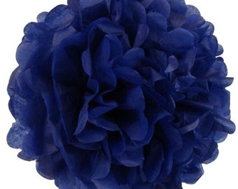Dark Blue Tissue Pom Poms