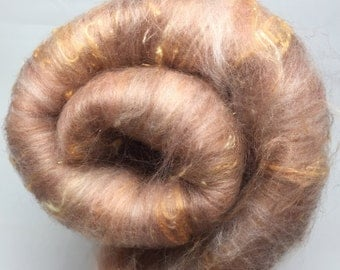 Hand carded fibre batt, spinning and felting fiber - Warm Fuzzies - 93g, warm brown, orange