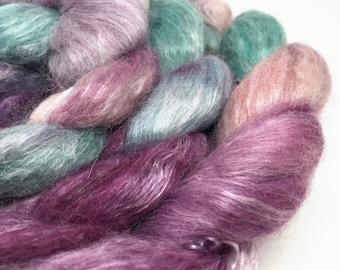roving alpaca, silk, seacell wool-free top, spinning fibre, hand dyed 100g - Zen Garden - jade, pink, plum