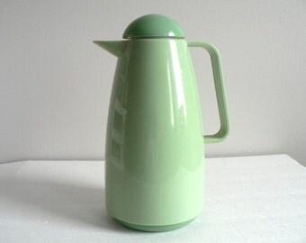 Mid Century Modern Atomic Glass Thermos in Mint Green / Retro Kitchen / Minimalistic Kitchen Drinkware / Vintage Vacuum Flask