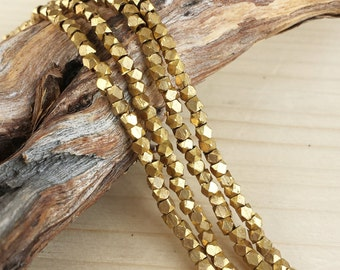 Raw Brass - 2-2.5mm Faceted Metal Beads - Cornerless Cubes - Brass - Full or Half Strand (approx. 100 or 200 pcs)