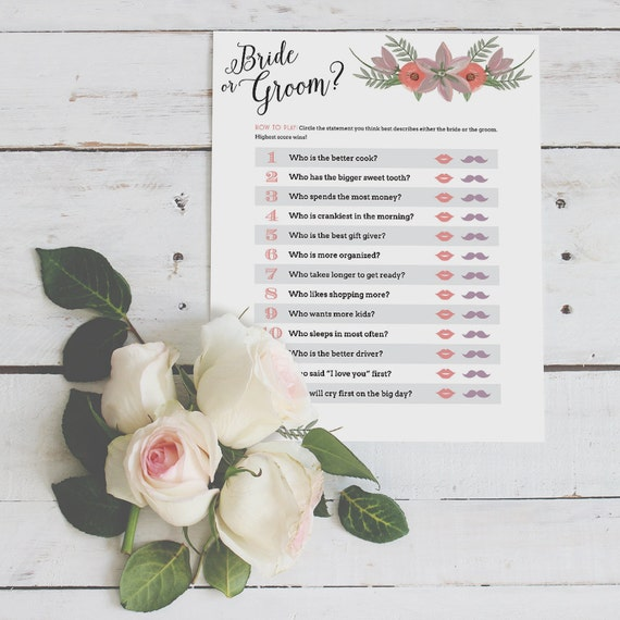 Bride And Groom Questionnaire: Bride Or Groom Trivia Game For Bridal By Sabrinahudakdesigns
