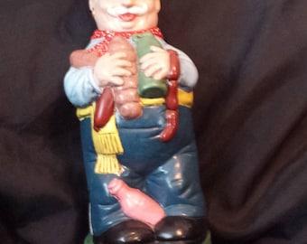 Ceramic Decanter vintage 1969 funny little italian man