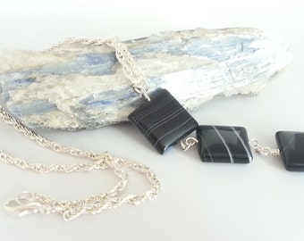 Silver Plate Black Banded Agate Necklace
