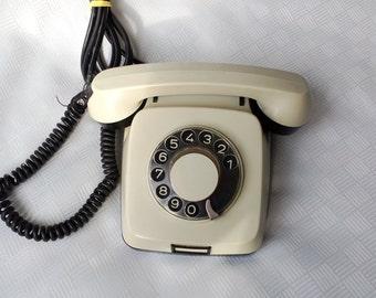 Vintage Rotary Phone, Dial phone, Retro Phone, Retro Working Telephone, Grey Vintage Phone, Vintage Gadget, Gray Rotary Phone